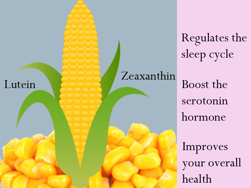 Sweet Corn Acts as a natural sedative and creates calm feeling which makes you sleepy